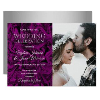 Modern Royal Purple & Silver Grey Wedding Photo Invitations