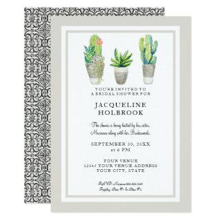 Modern Rustic Desert Cactus Pots Bridal Shower Invitations