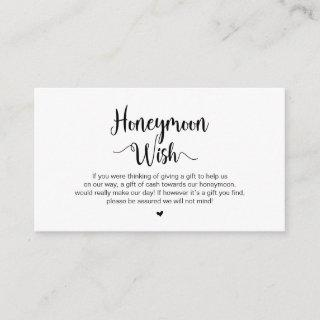 Modern Rustic Farm, Black Script, Honeymoon Wish Enclosure Card