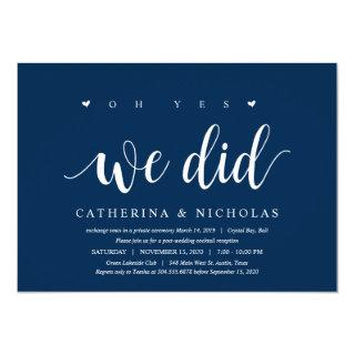Modern Rustic, Navy Blue Script, Wedding Elopement Invitation