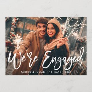 modern rustic white script photo engagement party invitation