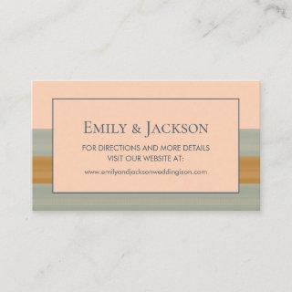Modern Sage Green Copper Peach Striped Wedding Business Card