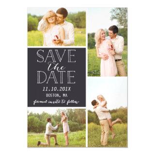 Modern Save The Date 4 Photo Classic Collage Magnetic Invitations