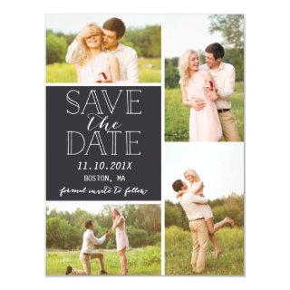 Modern Save The Date 4 Photo Classic Collage Magnetic Invitation