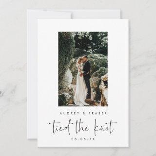 Modern Script Elopement Tied the Knot Photo Announcement