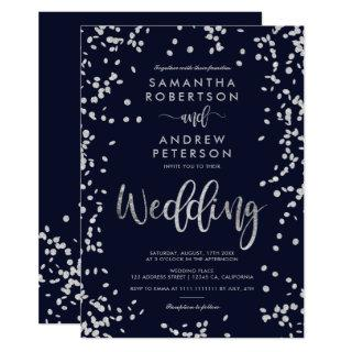 Modern script silver confetti navy blue wedding invitation