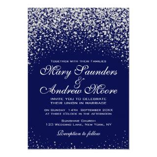 Modern  Silver Confetti on Royal Blue Invitation
