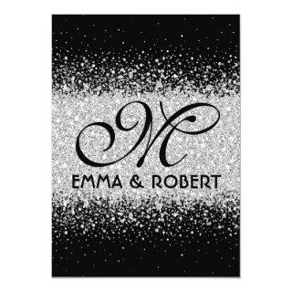 Modern Silver Glitter on Black Invitations