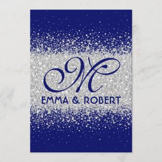 Modern Silver Glitter on Royal Blue Invitations