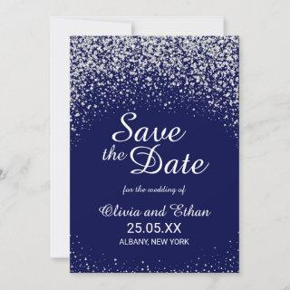 Modern Silver Glitter on Royal Blue Save The Date