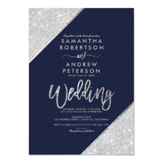 Modern silver glitter typography navy blue wedding Invitations