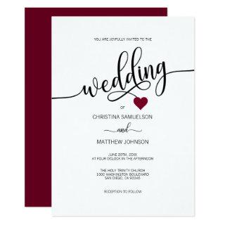 Modern Simple Black, White BURGUNDY Heart Wedding Invitations