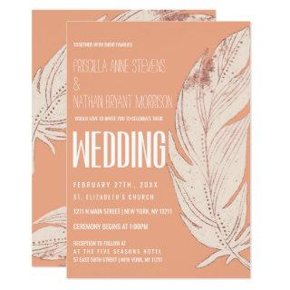 Modern Simple Soft Coral Peach Feather Wedding Invitations