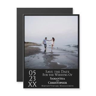 Modern Simple Wedding Save the Date Photo Black Magnetic Invitation