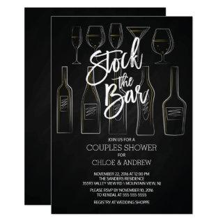 Modern Stock the Bar Couples Shower Invite