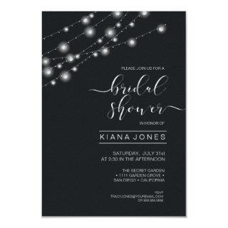 Modern String Lights Bridal Shower B&W ID585 Invitations