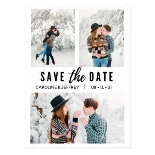 modern stylish multi photo save the date postcard