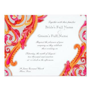 Modern Swirl Flourish Heart Tangerine Hot Pink Invitation