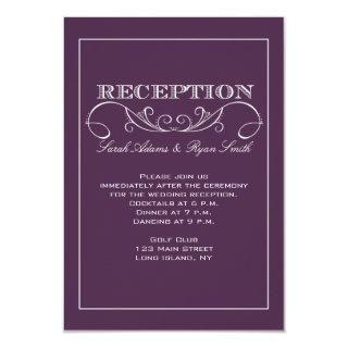 Modern Swirl Purple Reception Invitation