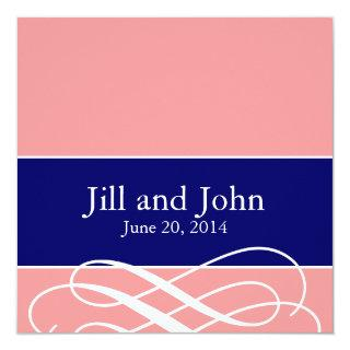 Modern Swirls Wedding Invitations Coral Navy Blue