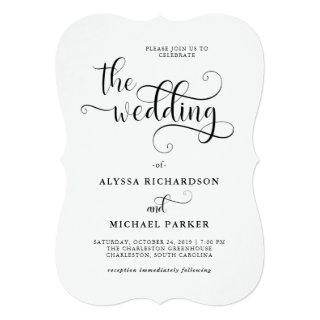 Modern Swirly Calligraphy Black and White Wedding Invitation