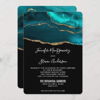 Modern Teal & Gold Agate Stone Abstract Wedding Invitation