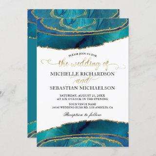 Modern Teal Watercolor Gold Agate Wedding Invitations