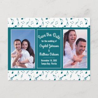 Modern Teal White Music Notes Photo Save the Date
