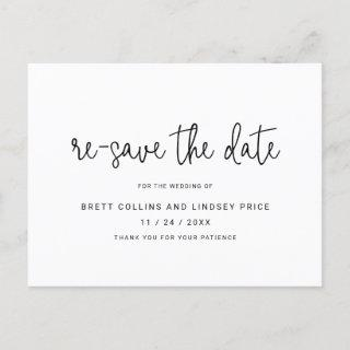 Modern Thin Script Typography Re-Save the Date Announcement Postcard