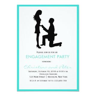 Modern Tiffany Blue Engagement Party Invitations