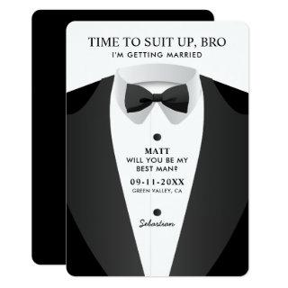 Modern Time To Suit Up Bro Best Man Invitation