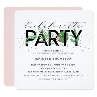 Modern Tropical Blush Flamingo Bachelorette Invitations