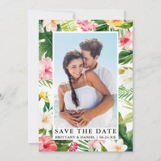 Modern Tropical Floral Photo Save The Date Card
