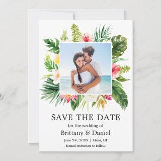Modern Tropical Floral Save The Date Photo Card