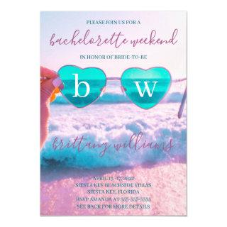 Modern Tropical Pink Bachelorette Beach Weekend Invitations