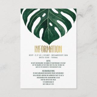 Modern Tropical Swiss Cheese Leaf Gold Details Enclosure Card