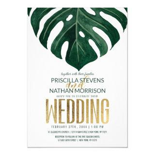 Modern Tropical Swiss Cheese Leaf Gold Wedding Invitations
