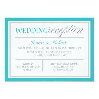 Modern Turquoise Gray Wedding Reception Invitation