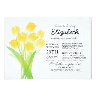 Modern Typographic Yellow Tulip Bridal Shower Invitations