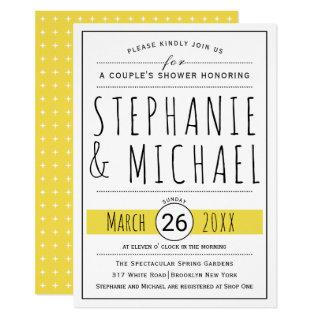 Modern typography yellow wedding couple's shower invitation