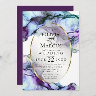 Modern Vibrant Teal Plum Abstract Ink Invitation