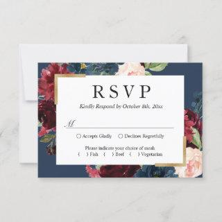Modern Vintage Burgundy Blue Floral Wedding RSVP