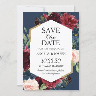 Modern Vintage Burgundy Blush Blue Floral Wedding Save The Date