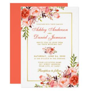Modern Watercolor Coral Floral Wedding Gold Invitations