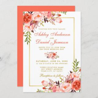 Modern Watercolor Coral Floral Wedding Gold Invitation