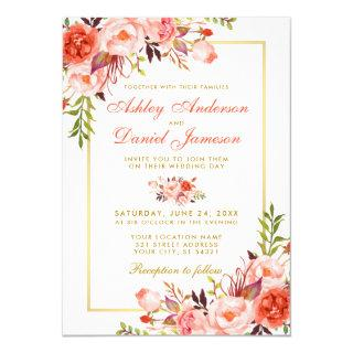 Modern Watercolor Coral Floral Wedding Gold W Invitations