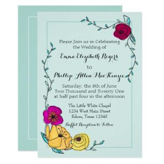 Modern Watercolor Floral Blue on Blue Monogram Invitations