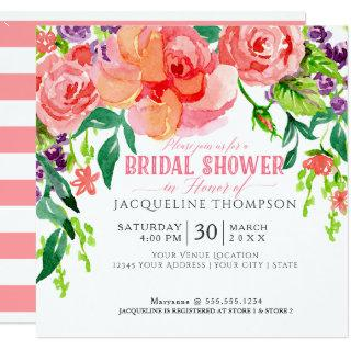 Modern Watercolor Floral Coral Pink Roses Lavender Invitations