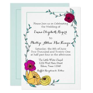 Modern Watercolor Floral Trendy Monogram Blue Invitation