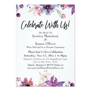 Modern Watercolor Florals Celebrate With Us! Invitations